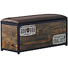 文創集 塔洛斯工業風皮革單層椅凳/長凳(內設收納層格)-100x40x47cm免組