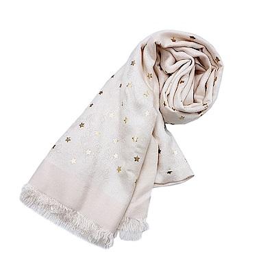 COACH 經典馬車LOGO 星星羊毛流蘇披肩圍巾-白色