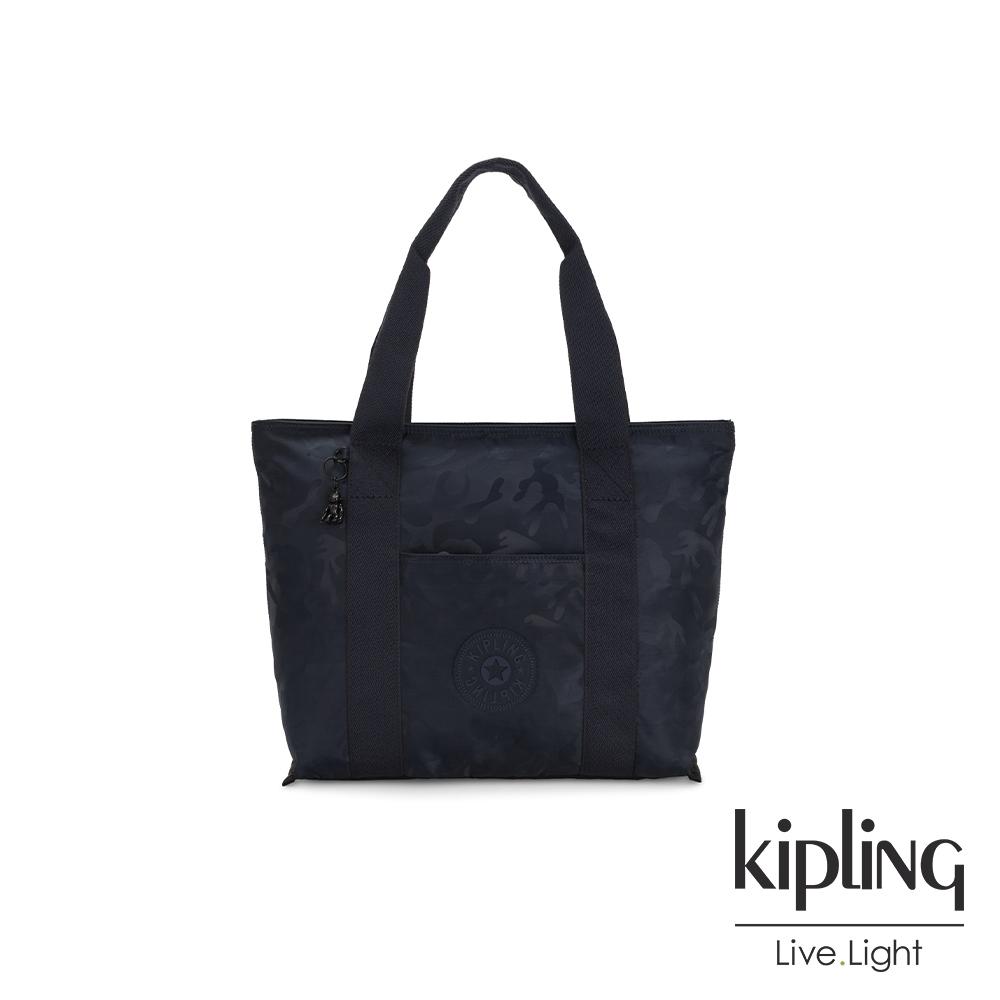 Kipling 光澤迷彩沉穩藍大容量手提包-ERA M