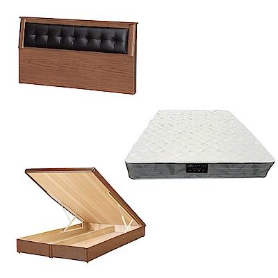 綠活居 亞凱6尺雙人加大床台三式組合(床頭片+後掀床底+抗菌防蹣獨立筒)五色可選
