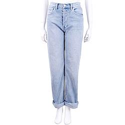 BURBERRY 直版剪裁石洗水藍色高腰牛仔褲