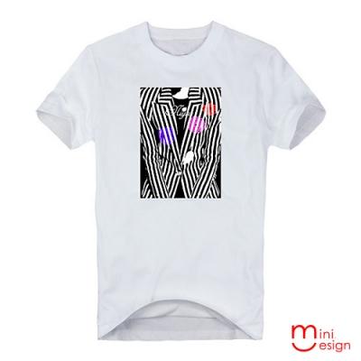 高反差西裝影像潮流設計短T 三色-Minidesign