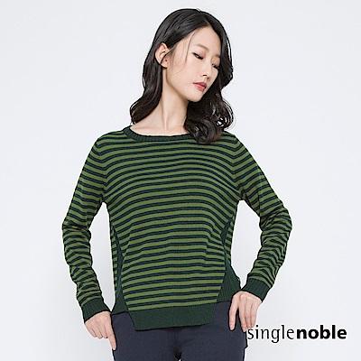 獨身貴族 玩轉時空幾何剪裁條紋針織衫(2色)