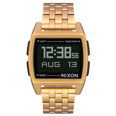 NIXON BASE復古多功能電子腕錶-金x黑