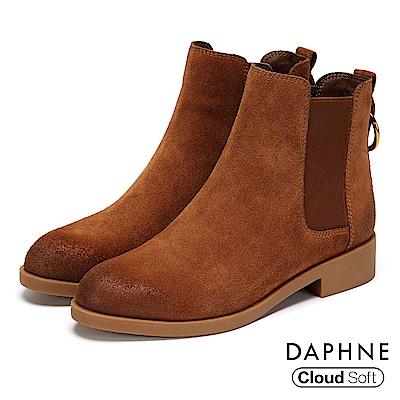 達芙妮DAPHNE 短靴-真皮U字鬆緊帶金屬環粗跟靴-棕