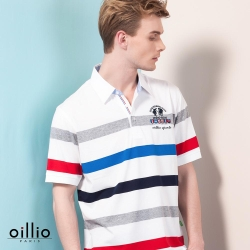 oillio歐洲貴族 柔順透氣襯衫領POLO衫 休閒簡約風格 白色
