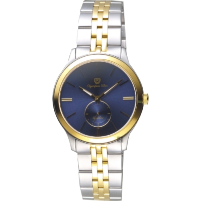 Olympia Star 奧林比亞 小秒針女錶-藍x雙色版/32mm
