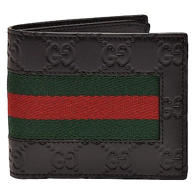 GUCCI 經典Signature系列GG印花綠紅綠織帶小牛皮零錢袋折疊短夾(黑-4卡)