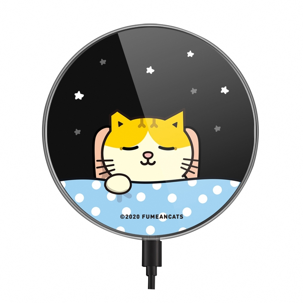 【TOYSELECT】黃阿瑪萬睡概念無線充電盤 - 三腳睡搞搞 (時尚黑)