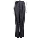 PINKO 黑色羊毛腰釦設計條紋西裝褲