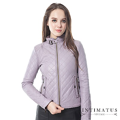 INTIMATUS 真皮 菱格紋超柔軟頂級小羊皮皮衣 薰衣草紫