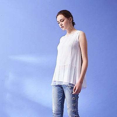 Chaber巧帛 浪漫精緻微寬雪紡針織兩件式層次造型無袖長版上衣(兩色)-白