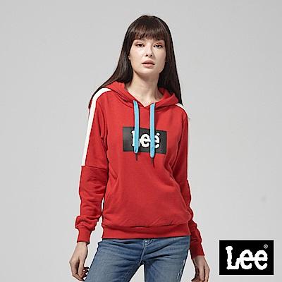 Lee 紅白拼接小LOGO長袖連帽TEE恤/RG