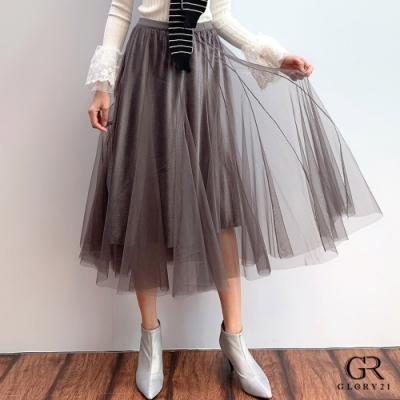 GLORY21 金蔥絨布蓬紗八片裙_灰