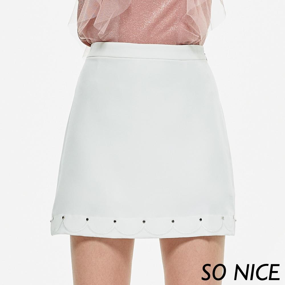 SO NICE都會造型繡花邊短裙