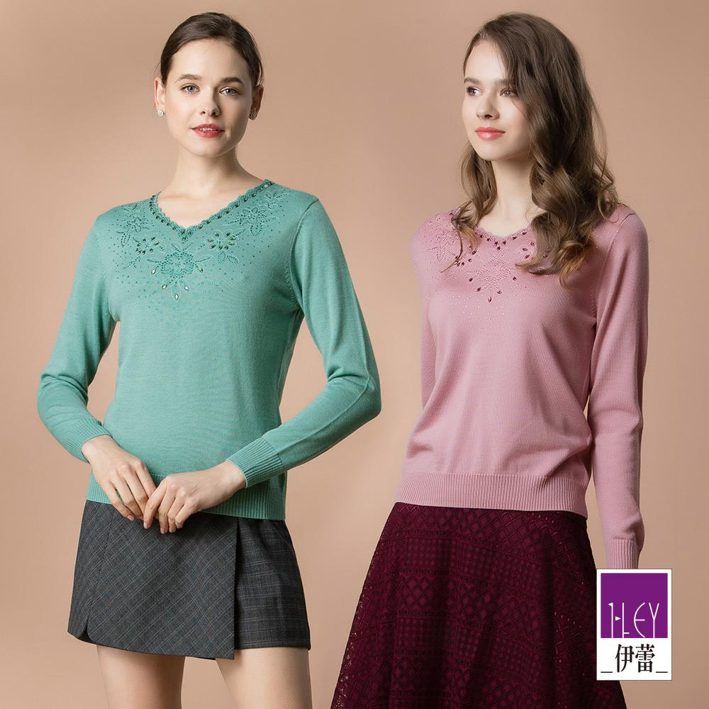 ILEY伊蕾 燙鑽緹花羊毛混紡V領毛衣(紫/綠)