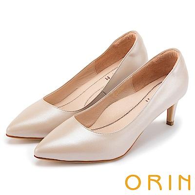 ORIN 典雅氣質 簡約素面羊皮尖頭高跟鞋-粉色