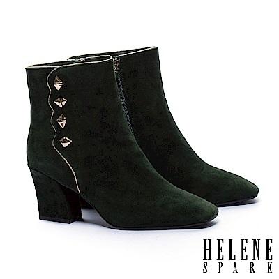 短靴 HELENE SPARK 復古率性鉚釘波浪剪裁全真皮高跟短靴-綠