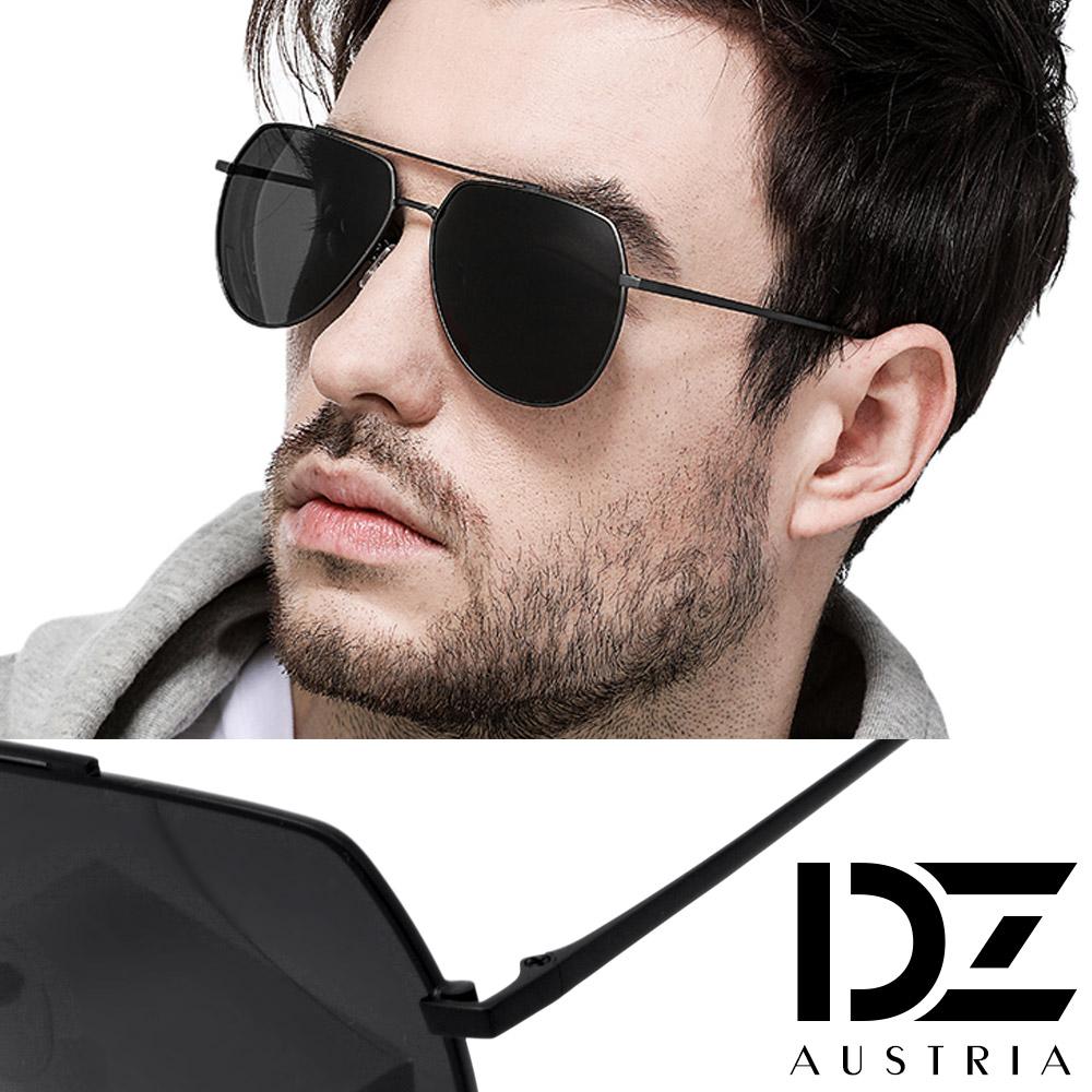 【2件59折】DZ 飛官橫槓架 抗UV 防曬偏光太陽眼鏡墨鏡(黑框灰片)