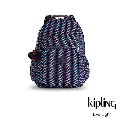 Kipling 後背包 繽紛簡約印花-大