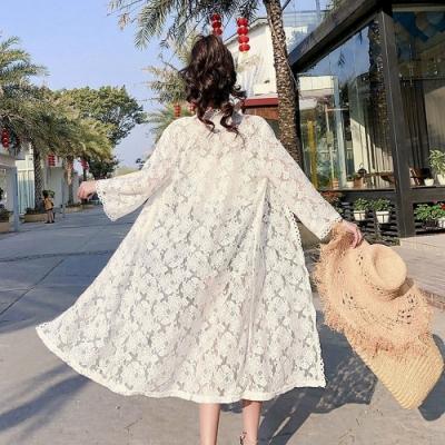 氣質小花朵蕾絲開衫中長款網紗防曬衣外套F-維拉森林