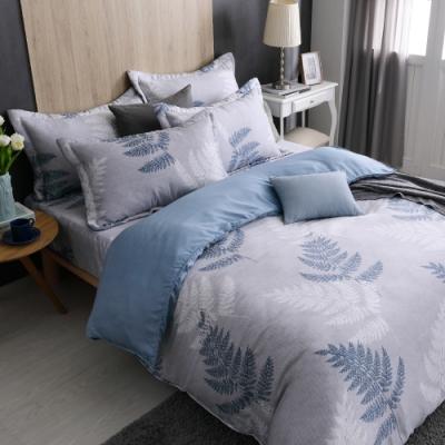 梵蒂尼Famttini-40天絲雙人全鋪棉被套6x7-灰藍夢羽