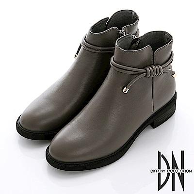 DN 魅力優雅 百搭牛皮繩結造型短靴-灰