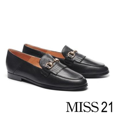 跟鞋 MISS 21 復古知性流蘇馬銜釦全真皮樂福低跟鞋-黑