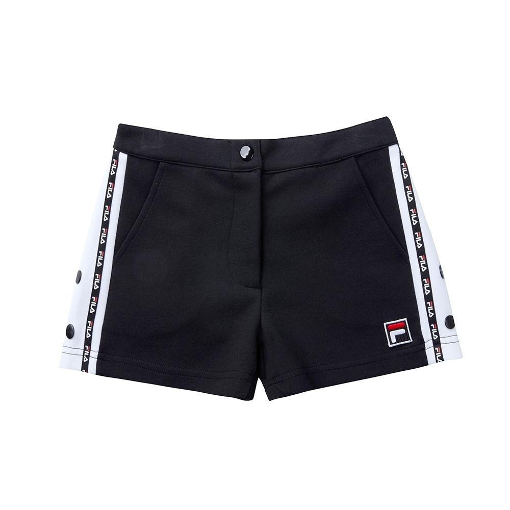 FILA KIDS #肆意極線 女童針織短褲-黑色 5SHT-8424-BK