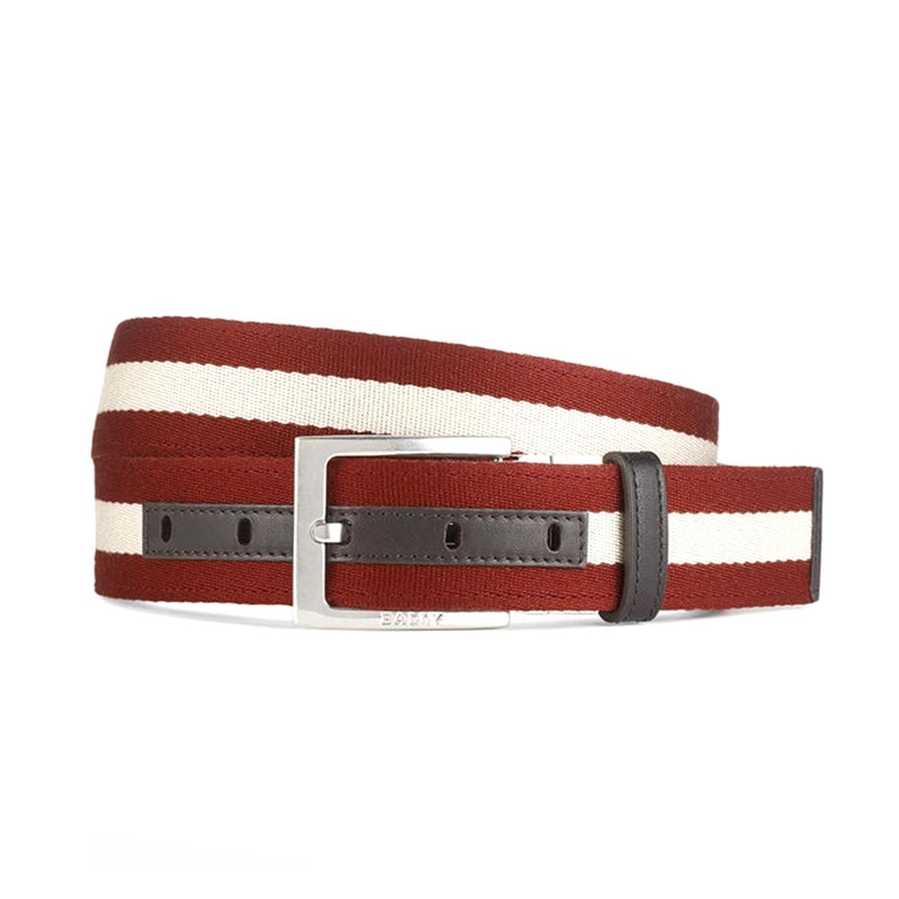 BALLY TONNI 35 紅白織帶雙面用咖牛皮腰帶
