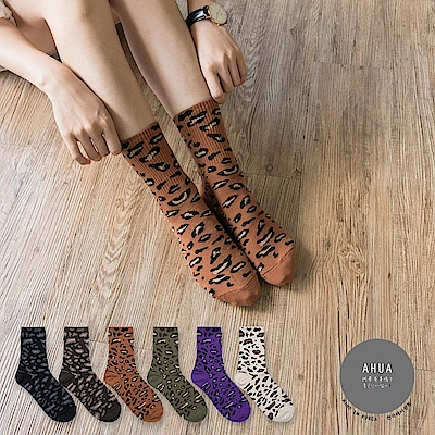 阿華有事嗎 韓國襪子 狂野豹紋中筒襪 韓妞必備長襪 正韓百搭純棉襪