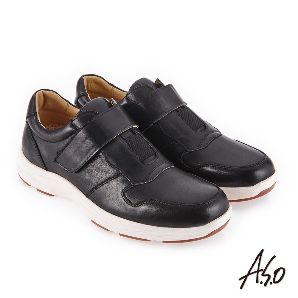 A.S.O 超能耐二代 自黏帶款休閒鞋 黑