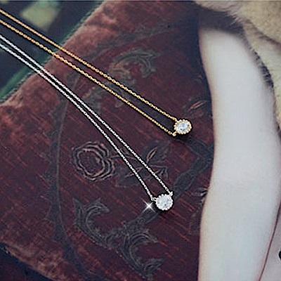 梨花HaNA  韓國925銀喜歡簡單花鑽單顆鎖骨鍊銀色