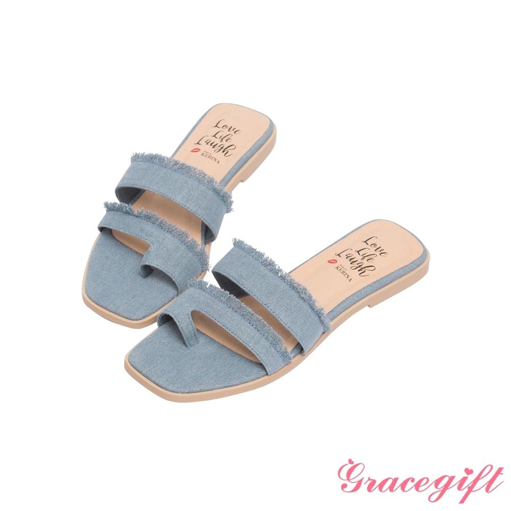 Grace gift X Kerina-聯名雙帶套趾平底涼拖鞋 牛仔