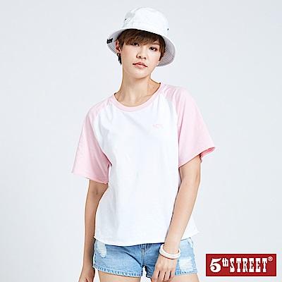 5th STREET LOGO刺繡拉克蘭短袖T恤-女-白色