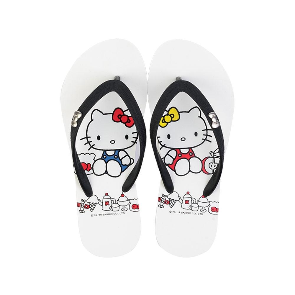 HELLO KITTY艾樂跑女鞋-海灘夾腳拖鞋-黑/白(919134)
