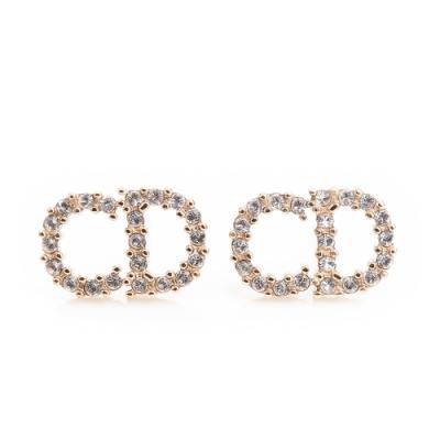 DIOR 新款Clair D Lune金色金屬白色水晶穿式耳環 (金色)