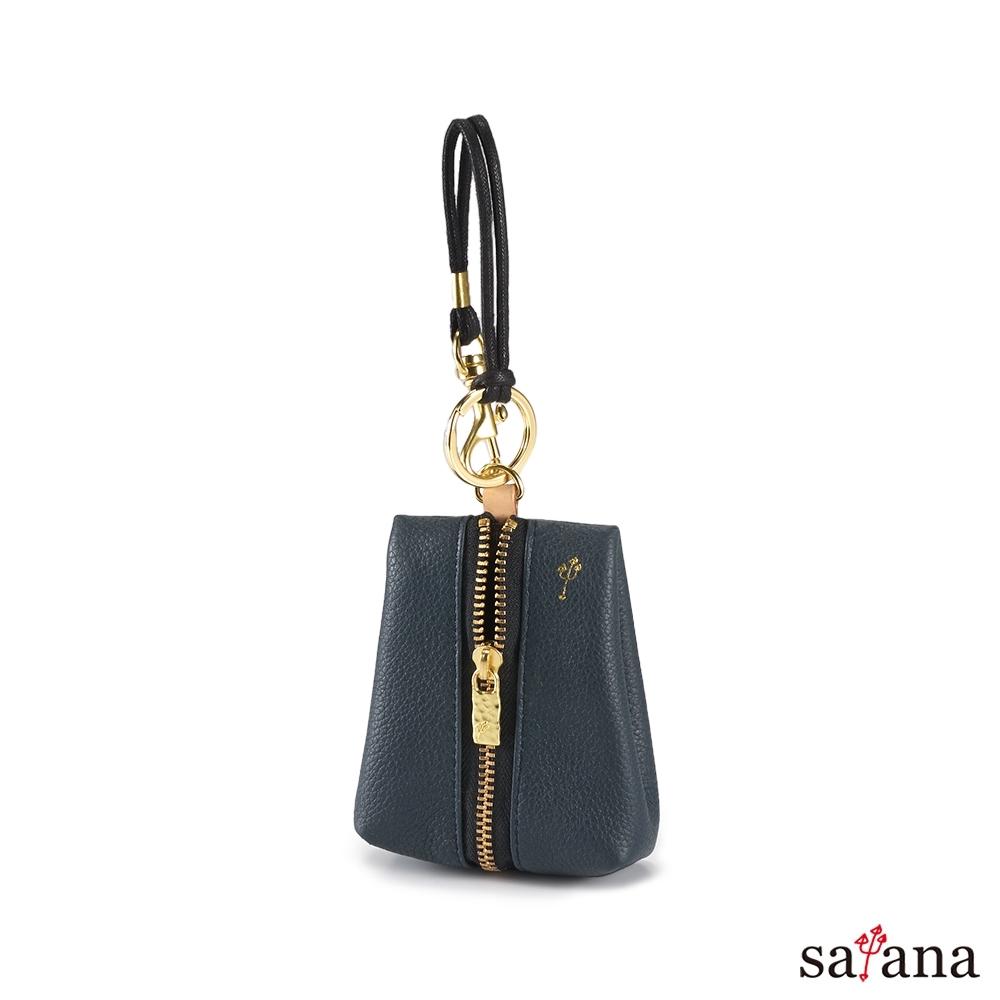 satana - Leather 驚喜鑰匙卡片包 - 午夜藍