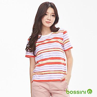 bossini女裝-圓領短袖條紋撞色上衣淺駝