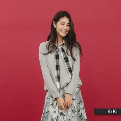【KiKi】可拆式格紋領巾-襯衫(二色)