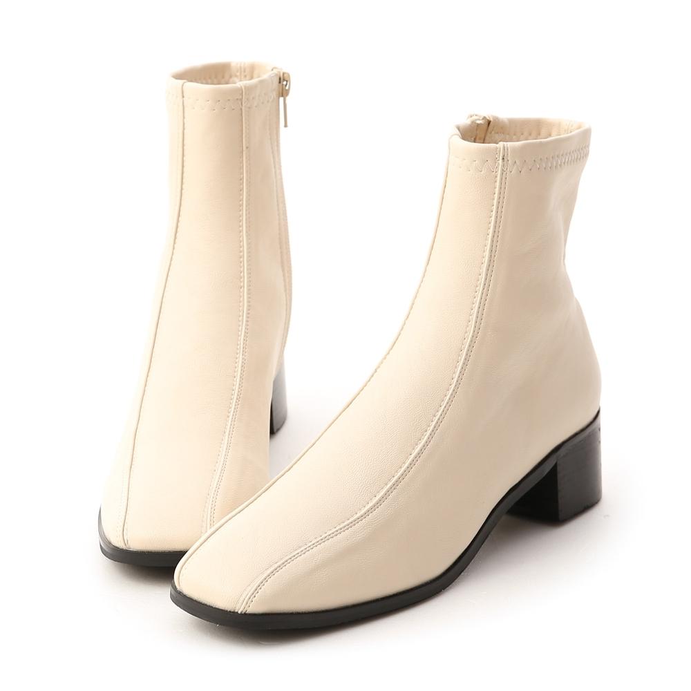 D+AF 獨特宣言.雙摺線設計低跟襪靴*米白