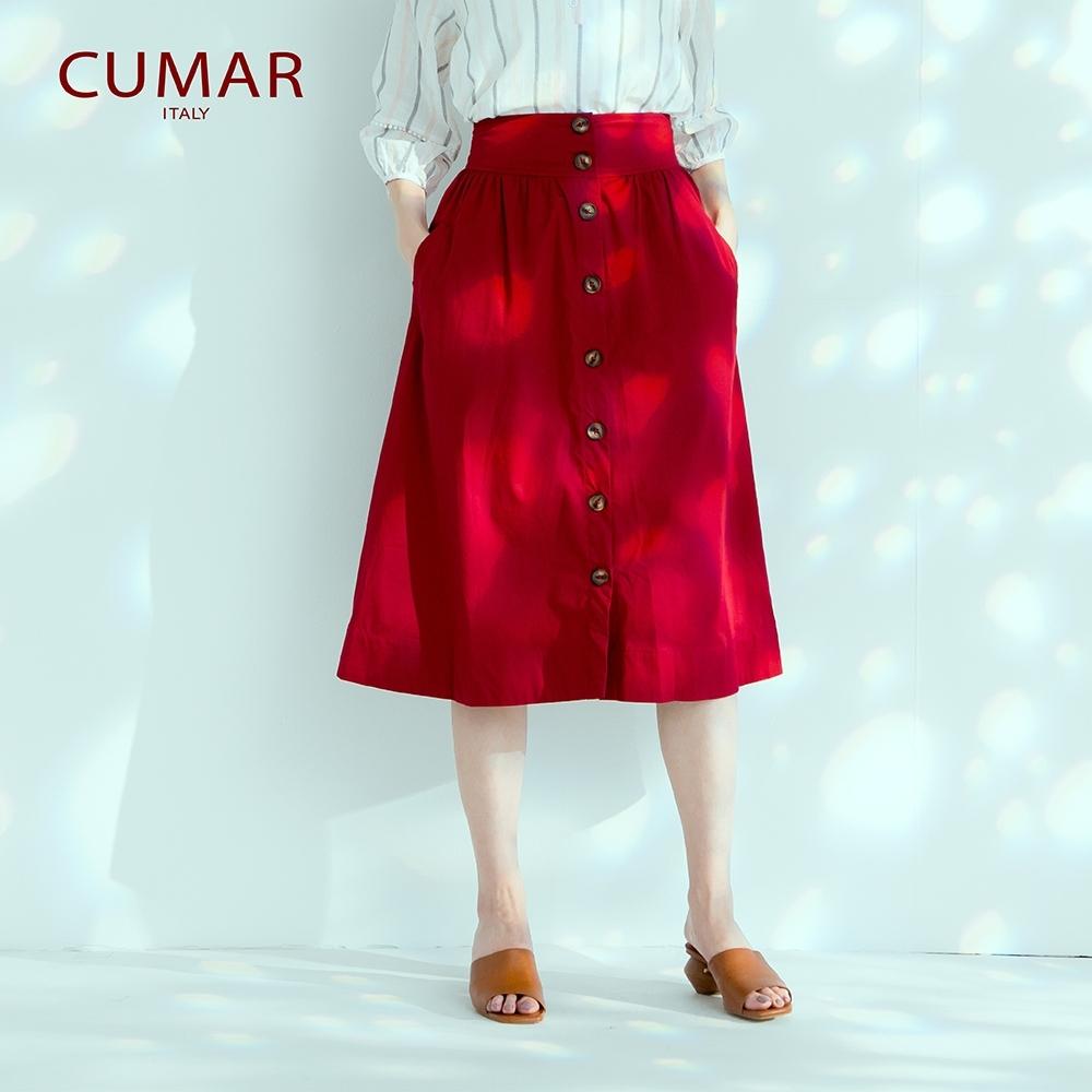 【CUMAR】氣質簡約排釦-長裙(二色)