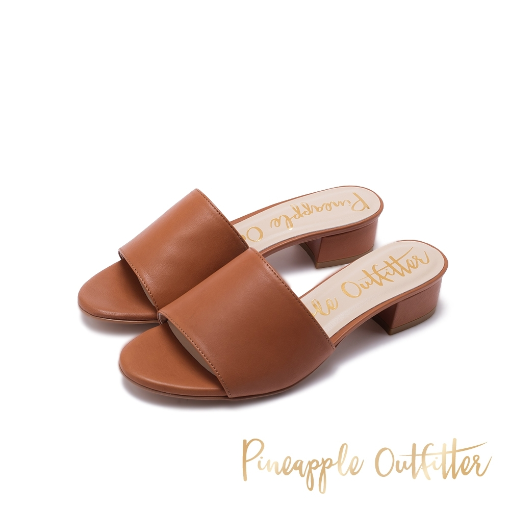Pineapple Outfitter HELSA 時髦寬帶粗跟涼鞋-卡其棕