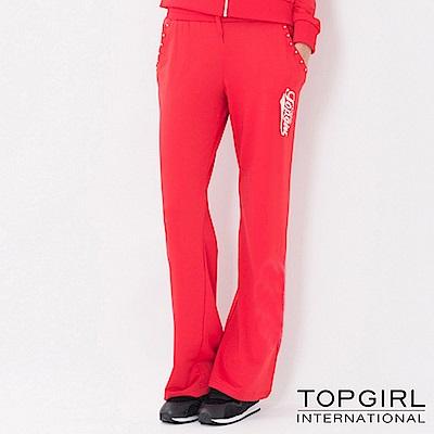 【TOP GIRL】原彩字母連帽POLY針織長褲-火熱紅