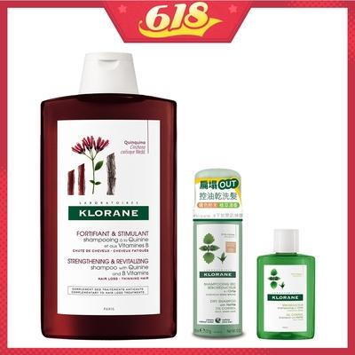 [時時樂限定] KLORANE蔻蘿蘭 養髮洗髮精400ml+控油乾洗髮體驗組