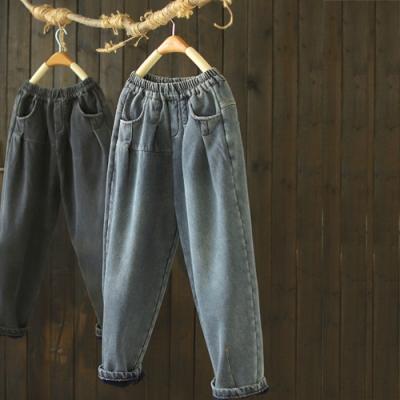 純棉水洗做舊鬆緊腰加絨牛仔褲寬鬆哈倫長褲-設計所在