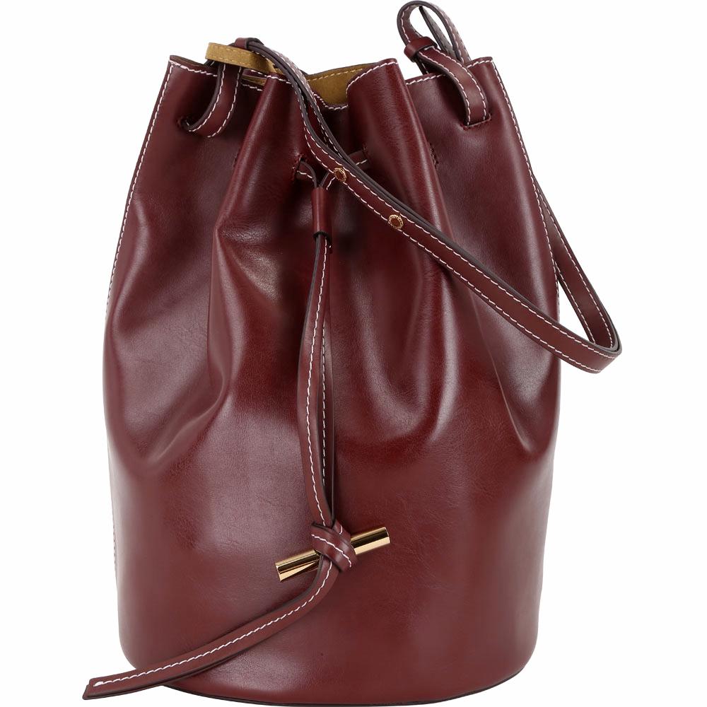 Stella McCartney 明線車縫附萬用包手提/肩背水桶包(紅梨色)