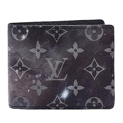 LV M67429經典MULTIPLE Galaxy帆布外太空星星圖案交叉式卡夾短夾-灰黑
