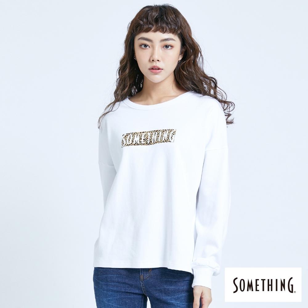 SOMETHING 休閒豹紋LOGO 薄長袖T恤-女-米白色