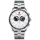 瑞士阿爾卑斯錶S.A.M 狂蜂系列-大黃蜂/白色錶盤/不鏽鋼鍊帶/三眼計時/45mm